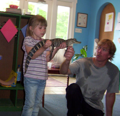Cailey holding the alligator